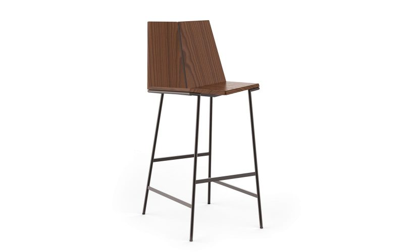 Kava Stacked Leather Bar Stool by Troscan Design & Furnishings